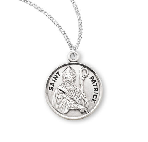 """Patron Saint Patrick Round Sterling Silver Medal 