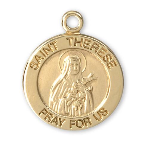 Patron Saint Therese 14 Karat Gold Round Medal   Style B
