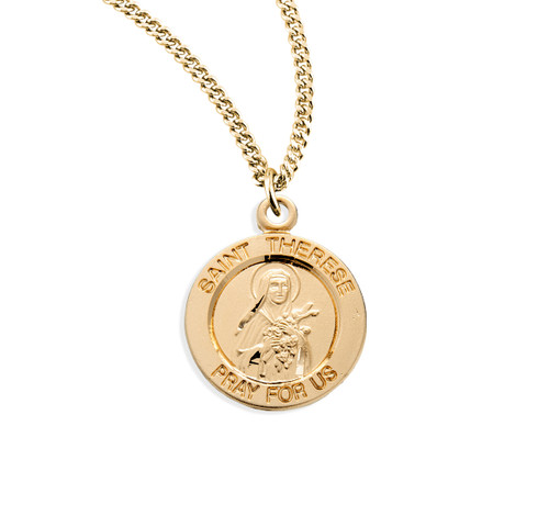 """Patron Saint Therese of Lisieux Medium Round Gold Over Sterling Silver Medal 
