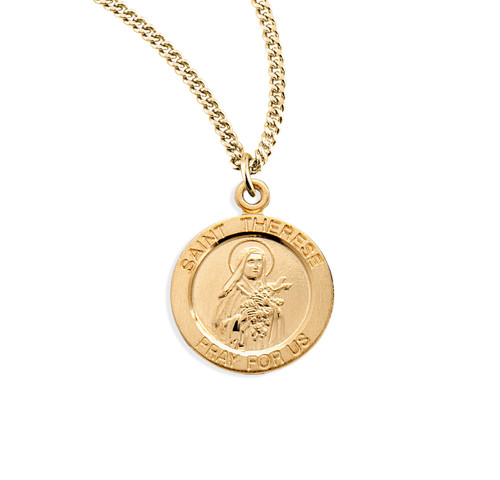 """Patron Saint Therese of Lisieux Large Round Gold Over Sterling Silver Medal 