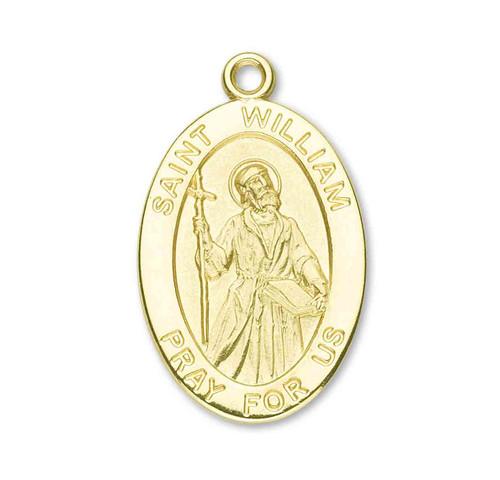 Patron Saint William Oval Solid 14 Karat Gold Medal