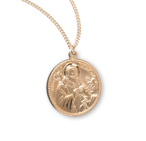 """Saint Benedict Round Gold Over Sterling Silver Medal 