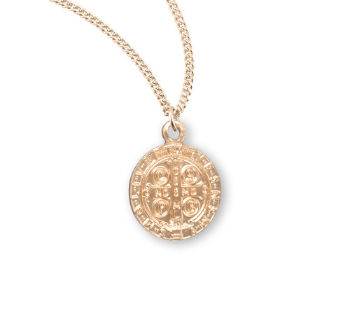 """Saint Benedict Small Round Jubilee Gold Over Sterling Silver Medal 