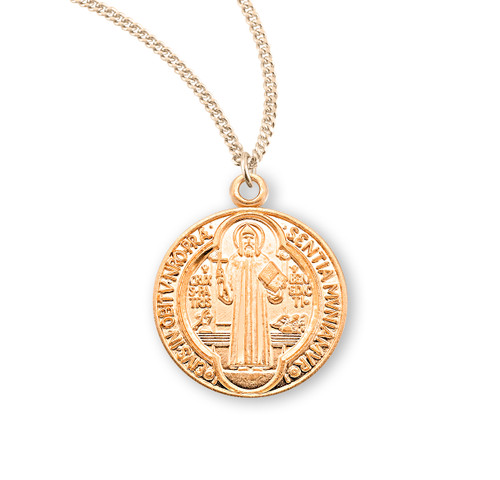 """Saint Benedict Medium Round Jubilee Gold Over Sterling Silver Medal 
