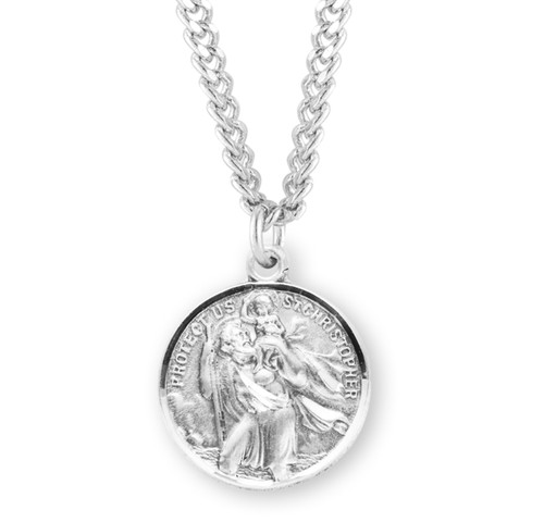 Saint Christopher and Saint Raphael Double Sided Sterling Silver Medal