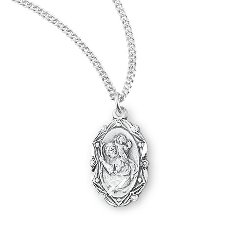 Saint Christopher Fancy Oval Sterling Silver Medal