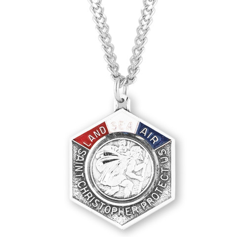Saint Christopher Land, Sea, and Air Enameled Sterling Silver Medal