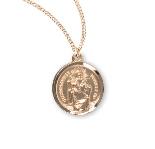Saint Christopher Round Gold Over Sterling Silver Medal