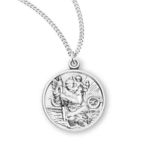 """Saint Christopher Small Round Sterling Silver Medal 