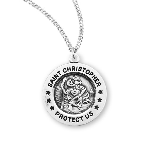 """Saint Christopher Medium Round Sterling Silver Medal 