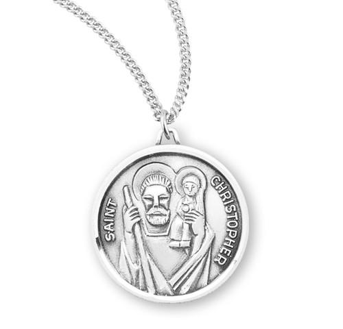 """Saint Christopher Round Sterling Silver Medal 