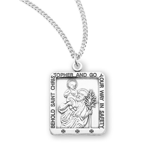 """Saint Christopher Square Sterling Silver Medal 