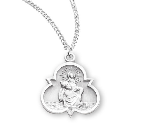 Saint Christopher Sterling Silver Trinity Symbol Medal
