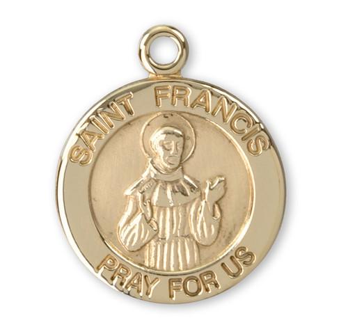 Saint Francis 14 Karat Gold Round Medal