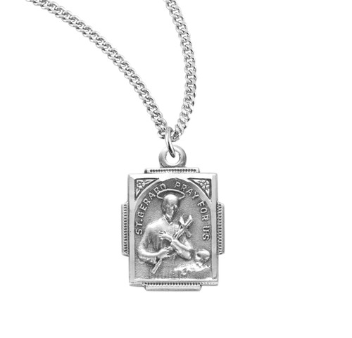 Saint Gerard Square Sterling Silver Medal