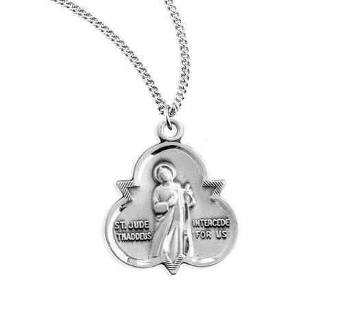 Saint Jude Thaddeus Sterling Silver Trinity Symbol Medal