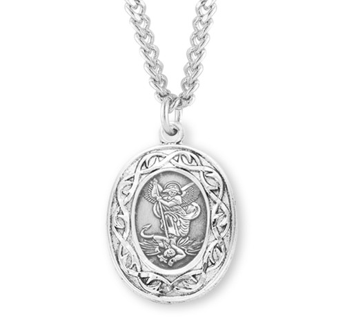 "Saint Michael Oval Sterling Silver ""Crown of Thorns"" Medal"