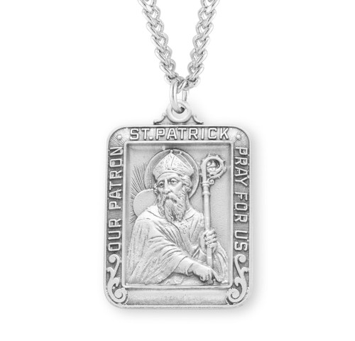 Saint Patrick Square Sterling Silver Medal