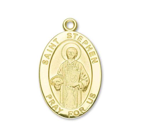 Saint Stephen Oval Solid 14 Karat Gold Medal