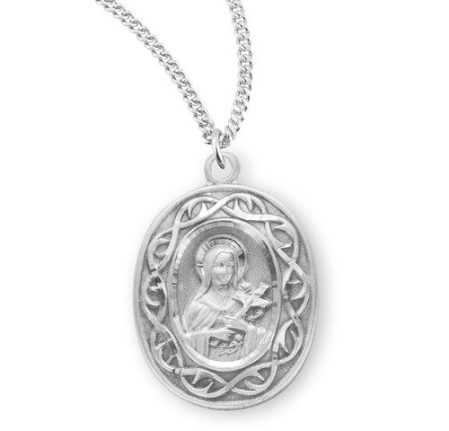 """Saint Therese of Lisieux Oval Sterling Silver """"Crown of Thorns"""" Medal"""
