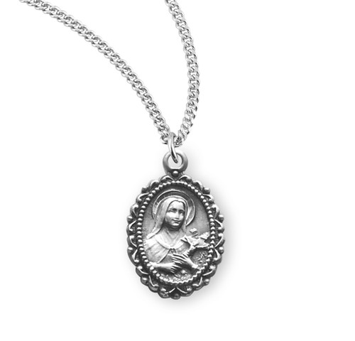 Saint Therese of Lisieux Medium Oval Sterling Silver Medal