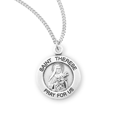 Saint Therese of Lisieux Large Sterling Silver Medal | Style A