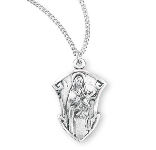 Saint Therese of Lisieux Large Sterling Silver Medal | Style B