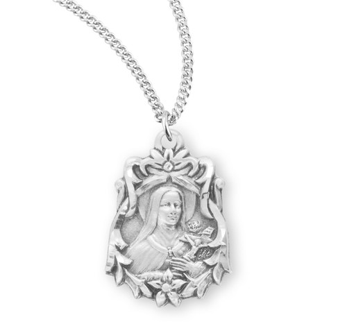 Saint Therese of Lisieux Large Sterling Silver Medal
