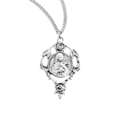 Saint Therese Round Sterling Silver Medal