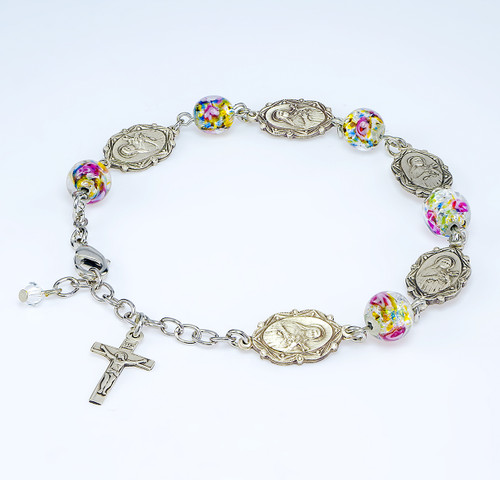 Saint Therese Sterling Silver Medals Bracelet | 8mm Glass Beads