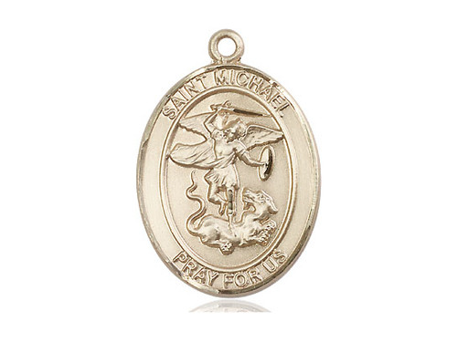 Solid 14 Karat Gold St. Michael the Archangel Medal | No Chain | Engrave