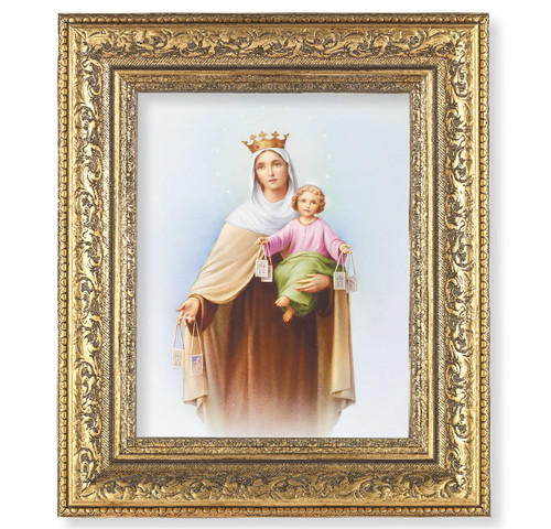 Our Lady of Mount Carmel Gold-Leaf Antique Framed Art