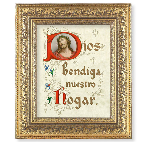 A House Blessing (Spanish) Gold-Leaf Antique Framed Art