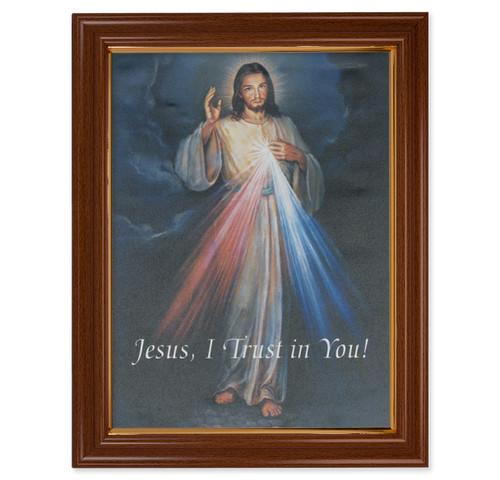 Divine Mercy Walnut Finish Framed Canvas Art