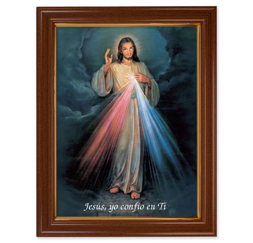 Divine Mercy (Spanish) Walnut Finish Framed Art