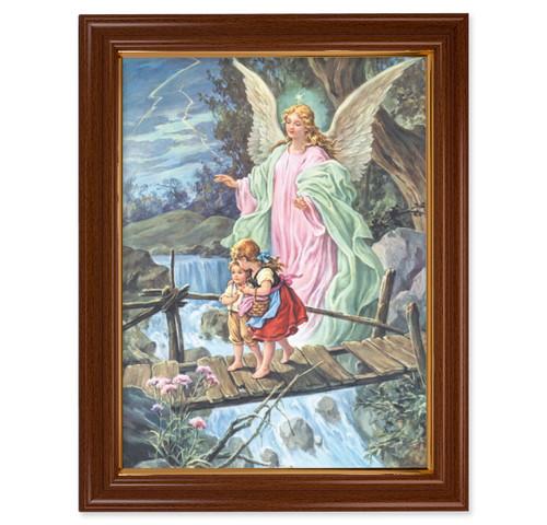 Guardian Angel Walnut Finish Framed Art