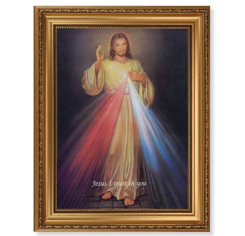 Divine Mercy Antique Gold Framed Art