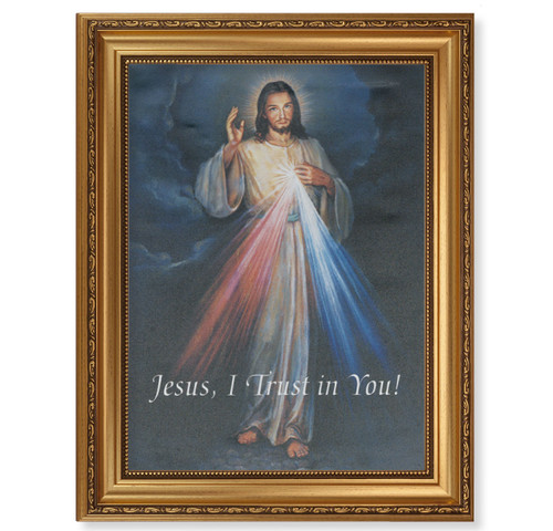 Divine Mercy Gold Wood Framed Canvas Art