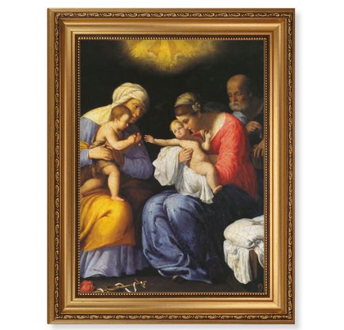 St. Anne, John the Baptist and the Holy Family Antique Gold Framed Art