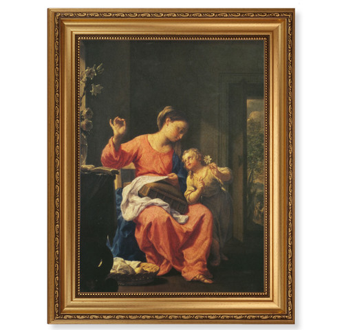 Jesus and Mary Antique Gold Framed Art