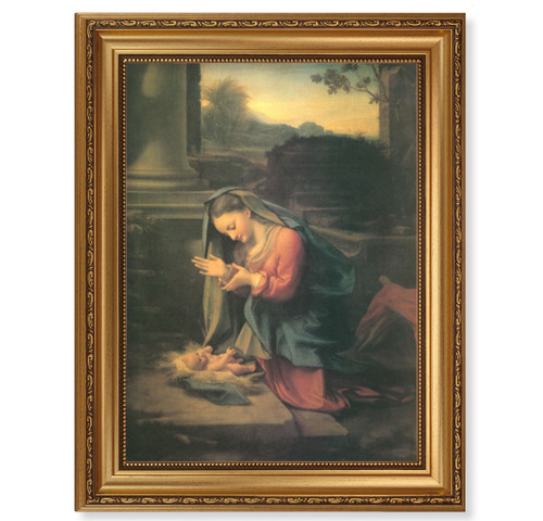 Our Lady Worshipping the Child Antique Gold Framed Art