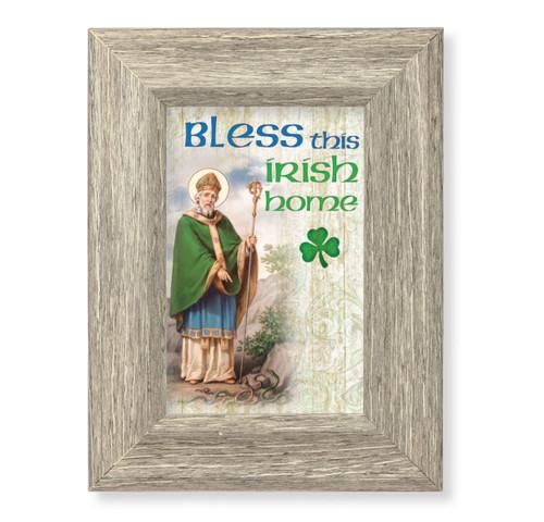 St. Patrick House Blessing Gray Framed Art