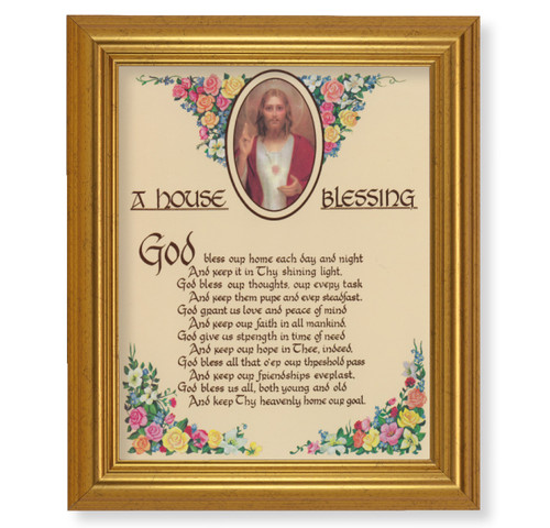 A House Blessing Beveled Gold-Leaf Framed Art