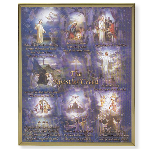 Apostles' Creed Plain Gold Framed Plaque Art