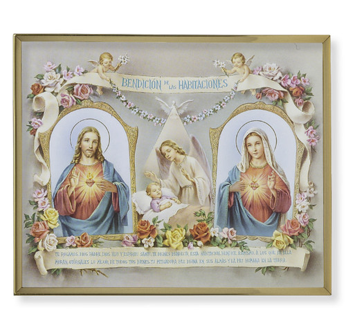 Baby Room Blessing (Spanish) Plain Gold Framed Plaque Art