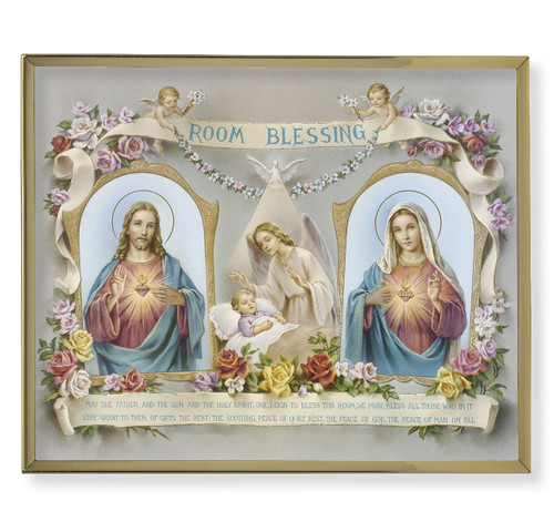 Baby Room Blessing Plain Gold Framed Plaque Art