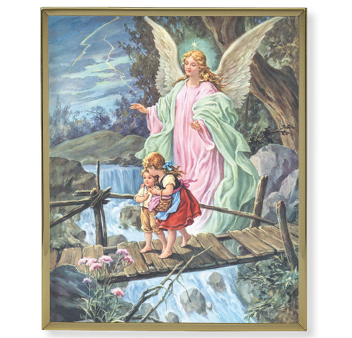 Guardian Angel Crossing the Bridge Plain Gold Framed Plaque Art