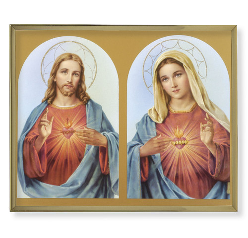The Sacred Hearts Plain Gold Framed Plaque Art | Style A