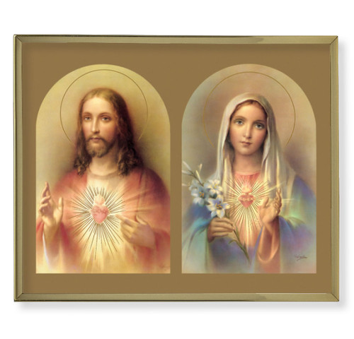 The Sacred Hearts Plain Gold Framed Plaque Art | Style B