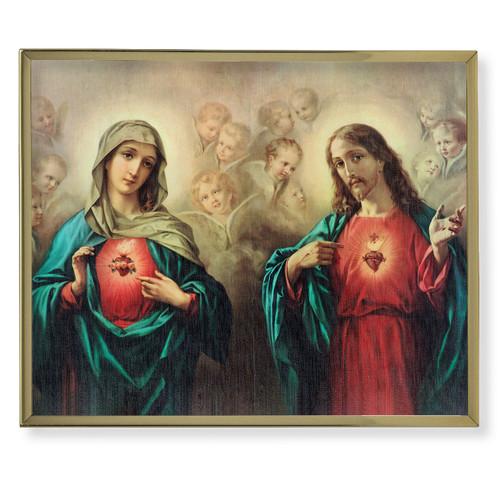 The Sacred Hearts Plain Gold Framed Plaque Art